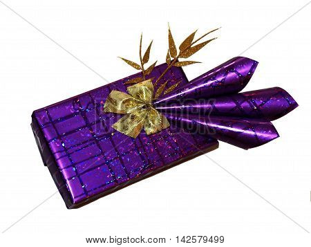 Very luxury wrapping gift with gold bow