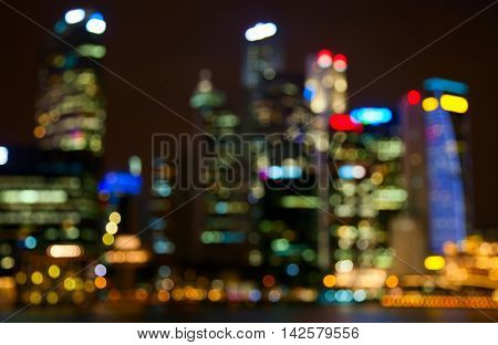 Night lights of the Singapore city