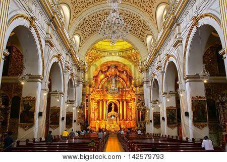 Lima, Peru-february 2: Interior Of Saint Peter Church On February 2, 2015  In Lima, Peru. This Churc