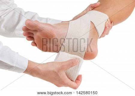 Flexible elastic supportive orthopedic bandage with white background compression stabilizer ankle.