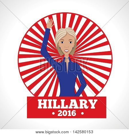 Vector illustration of american election for first woman candidate.Woman orator speech on usa election 2016.First lady on red rays background.First woman president in blue suit with words Hillary 2016