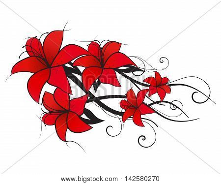 Vector illustration of red lilies, vintage decoration flowers