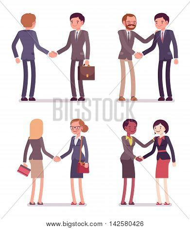 Set of four pairs handshaking. Men and women are in a formal wear. The set of characters isolated against the white background. Cartoon vector flat-style business illustration