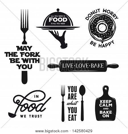 Food related typography set. Quotes about cooking. Motivational wordings for prints and posters. Kitchenware silhouettes. Vintage vector illustration.