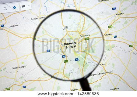 Ostersund, Sweden - Aug 14, 2016: Brussels on Google Maps under a magnifying glass. Brussels is the capital city of Belgium and of Brussels Capital Region