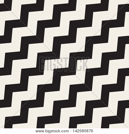 Vector Seamless Black and White ZigZag Diagonal Lines Geometric Pattern. Abstract Geometric Background Design
