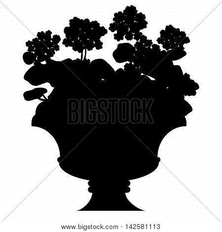 Vector black silhouette of blooming flowers in a vase isolated on white background.