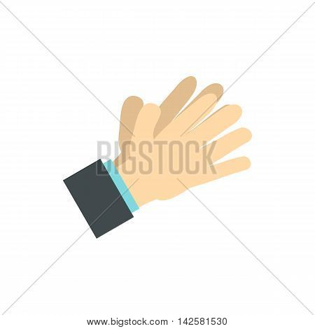Open palm icon in flat style isolated on white background. Gestural symbol
