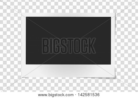 Realistic Vector Photo Frame Isolated. Template Retro Photo Design, Vector Illustration