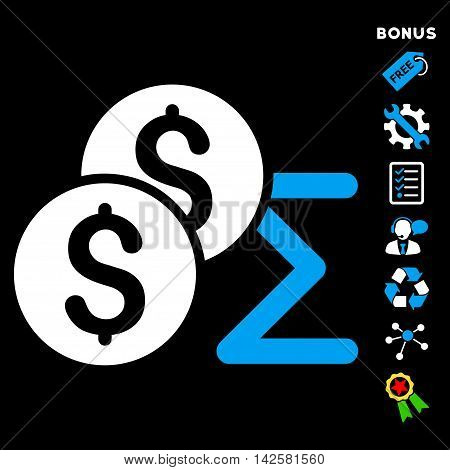 Coin Summary icon with bonus pictograms. Vector illustration style is flat iconic bicolor symbols, blue and white colors, black background, rounded angles.