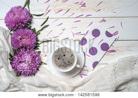 Word Relax With Cup Of Coffee And Pink Flowers