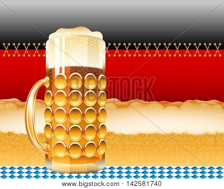 Glass of beer and the German flag with a foamy lager; Concept design for the Oktoberfest; Vector background Eps10