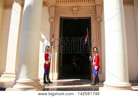 Asuncion, Paraguay - December 26: Unidentified Men Guard National Pantheon Of The Heroes On December