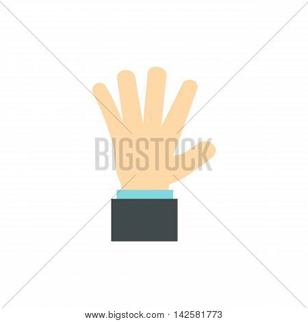 Palm up icon in flat style isolated on white background. Gestural symbol
