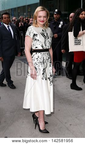 NEW YORK-APR 27: Actress Elizabeth Moss waves at the 42nd Chaplin Award Gala at Alice Tully Hall, Lincoln Center on April 27, 2015 in New York City.
