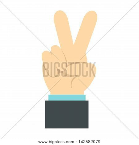 Gesture victoria icon in flat style isolated on white background. Gestural symbol