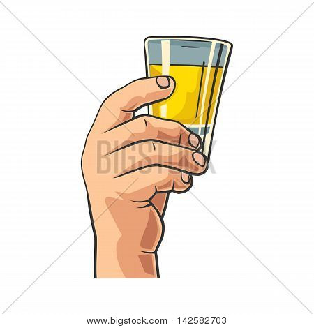 Male hand holding glass tequila. Vintage vector flat illustration for label poster invitation to invitation to party and birthday. Isolated on white background