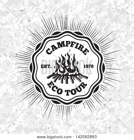 Campfire eco tour label with flaming fire on grunge background. Vector illustration