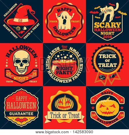 Halloween bright labels set with - ghost, witch hat, skull, cat, pumpkin, cauldron etc