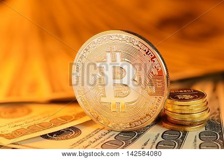 Golden Bitcoin And Banknotes