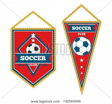 A pair of soccer pennants isolated over white. Soccer tournament and football flag, vector illustration