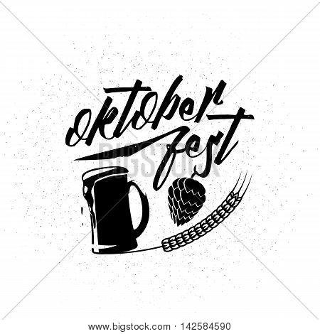 Vector illustration of Oktoberfest logo. Oktoberfest celebration on textured background with lettering typography, mug of beer, hop wheat ear. Beer festival decoration for Oktoberfest