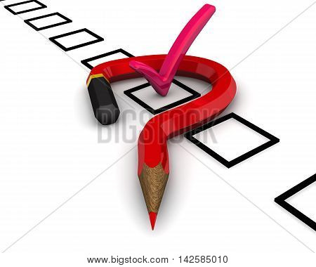 Doubts about the correctness of the choice. Red pencil in the shape of a question mark and a checklist with the label. Isolated. 3D Illustration
