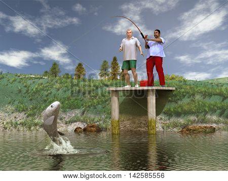 3d illustration of a fisherman fishing a big fish
