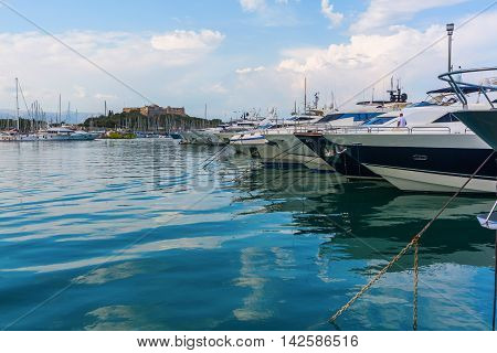 Boats In The Harbor Of Antibes, Cote Azur, France