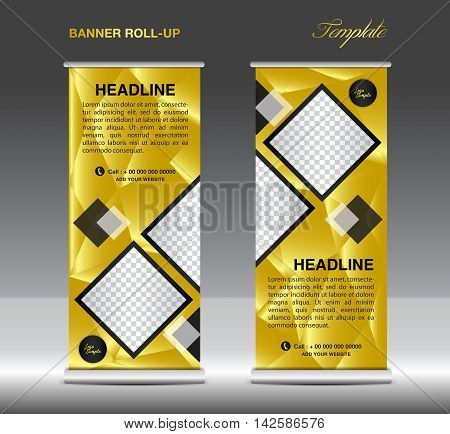 Gold Roll up banner template vector, roll up stand, banner design, flyer, advertisement, polygon background