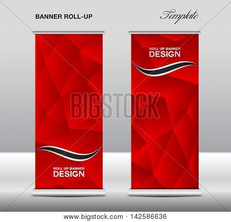 Red Roll up banner template vector, polygon background, roll up stand, banner design, flyer, advertisement