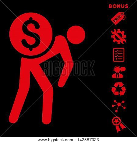 Financial Courier icon with bonus pictograms. Vector illustration style is flat iconic symbols, red color, black background, rounded angles.