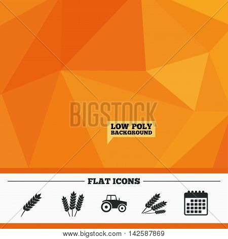 Triangular low poly orange background. Agricultural icons. Wheat corn or Gluten free signs symbols. Tractor machinery. Calendar flat icon. Vector