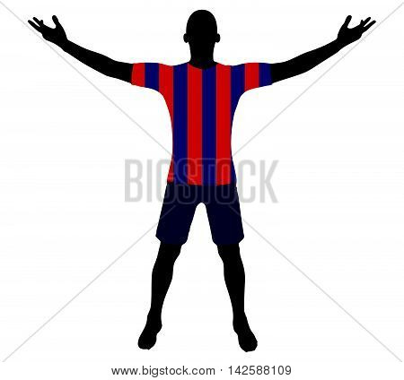 Soccer Player Silhouette In Red Blue Navy