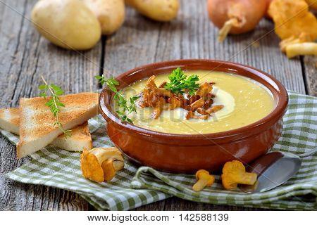Cream of potato soup with fresh chanterelles and creme fraiche