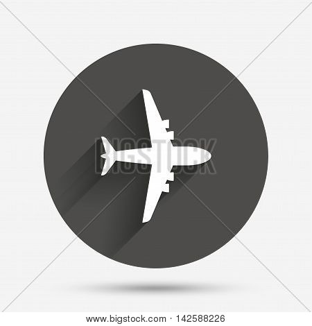 Airplane sign. Plane symbol. Travel icon. Flight flat label. Circle flat button with shadow. Vector