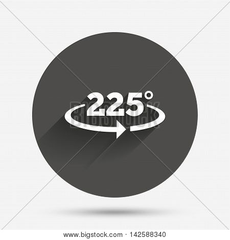 Angle 225 degrees sign icon. Geometry math symbol. Circle flat button with shadow. Vector