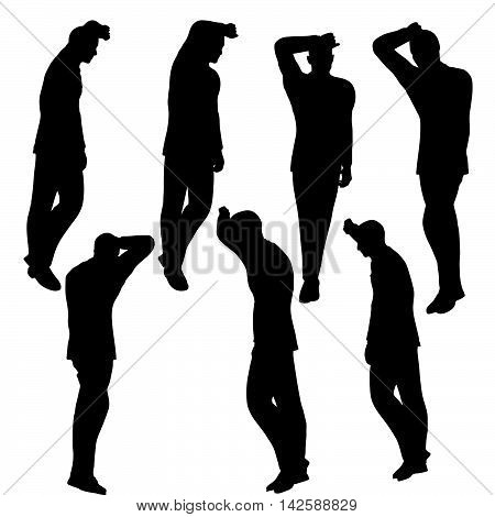 Man Silhouette In Anxious Pose
