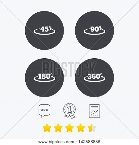 Angle 45-360 degrees icons. Geometry math signs symbols. Full complete rotation arrow. Chat, award medal and report linear icons. Star vote ranking. Vector