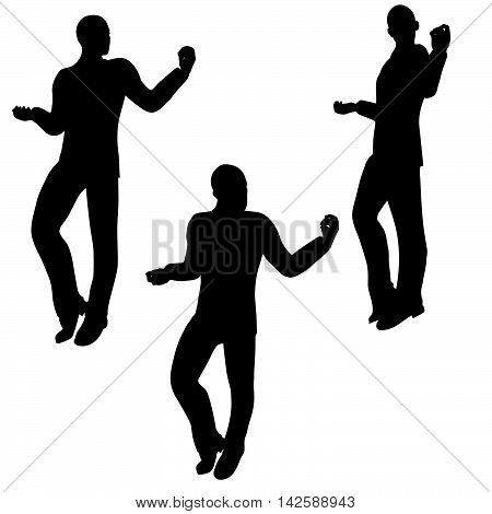 Man Silhouette In Happy Pose