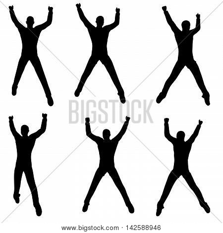 Man Silhouette In Excited Pose