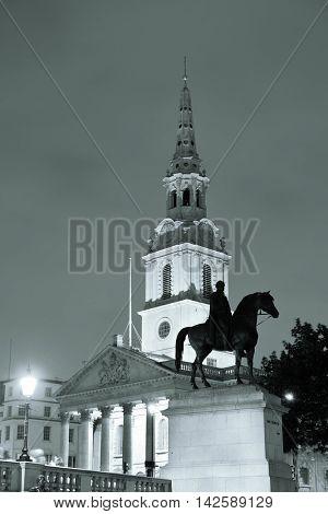 St Martin in the Field church in Trafalgar Square in London at night