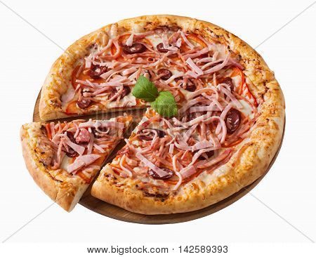 Tasty pizza with ham and sausage isolated on white