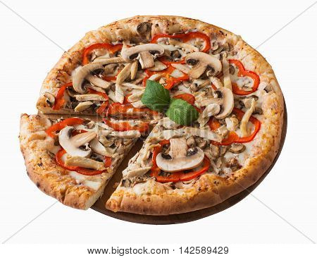 Tasty pizza with chicken mushrooms and pepper isolated on white