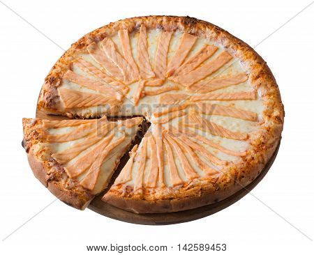Tasty pizza with salmon isolated on white