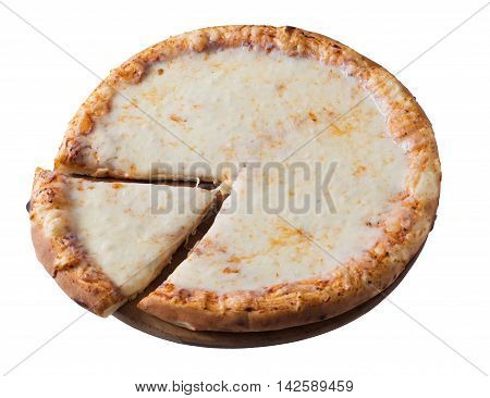 Tasty cheese pizza isolated on white background
