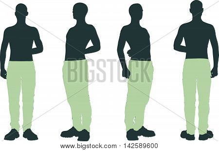 Man Silhouette In Salute, Stand Pose