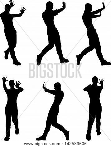 Man Silhouette In Stop, Push Pose