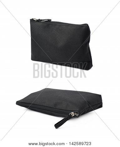 Black cosmetic bag with a zipper isolated over the white background, set of two different foreshortenings