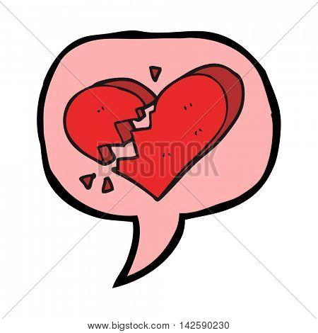 freehand drawn speech bubble cartoon broken heart